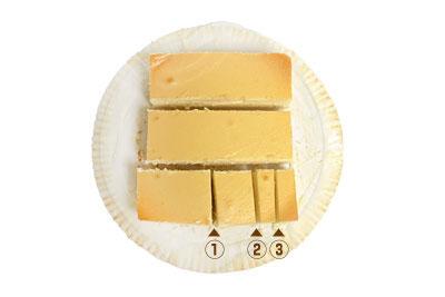 スフレチーズケーキの切り分け方 カット順序