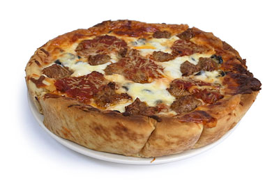 ディープディッシュピザ ミートコンボ お皿へ
