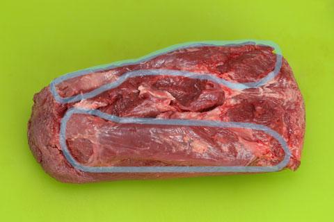 コストコの牛たんの切り分け方 切り取る箇所
