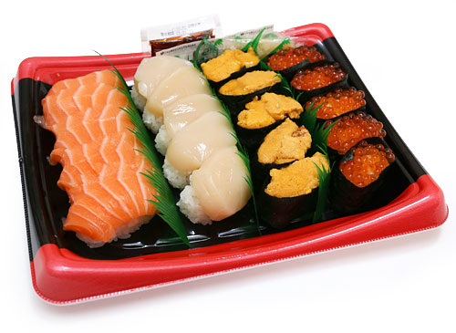 特選握り寿司 20貫 蓋を開けた写真