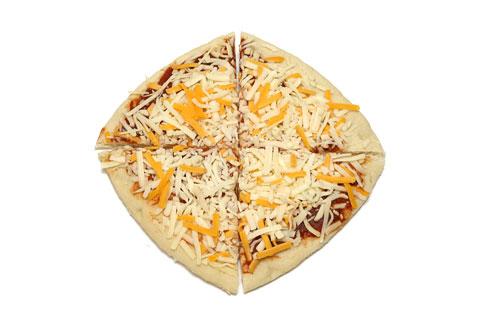 コストコの巨大丸型ピザの切り方6 最初にカットした4つを組み合わせた