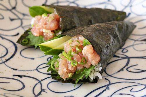 三種のまぐろたたき 手巻き寿司