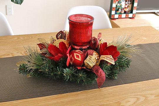 クリスマスセンターピース テーブルに飾った