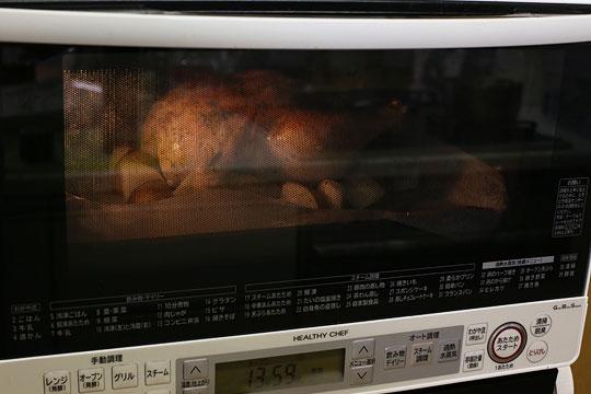 ローストチキン オーブン調理中