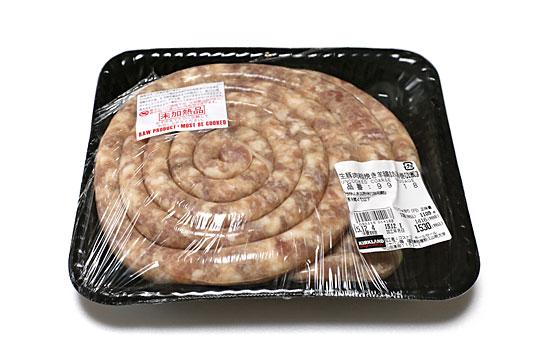 生豚肉粗挽き羊腸詰渦巻