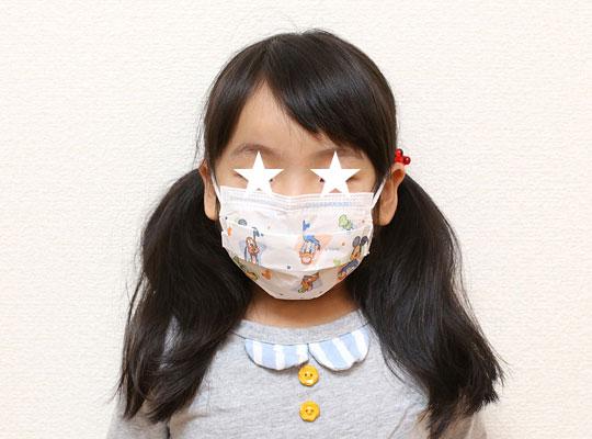 ディズニー子供用プリーツマスク おちびに装着(正面)