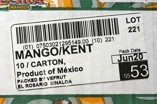 メキシコ産マンゴー ケント種 ラベル