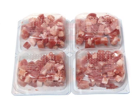 BERETTA パンチェッタ ダイスカット 4等分に小分けされたパッケージ