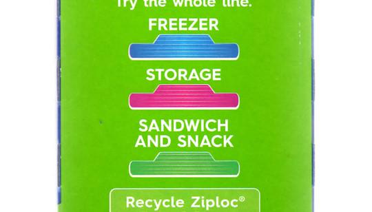 ジップロック サンドイッチバッグ 箱側面の表示