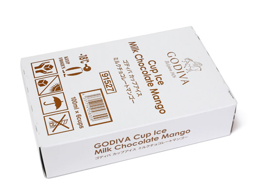 ゴディバ カップアイス ミルクチョコレートマンゴー 内箱