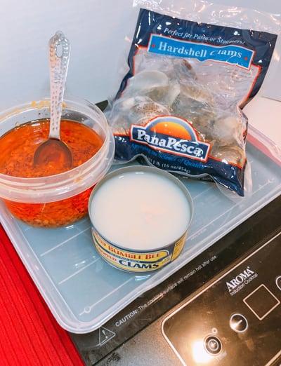 ハワイアンチョップドガーリックオイルで作るスパゲッティ・ボンゴレ 材料