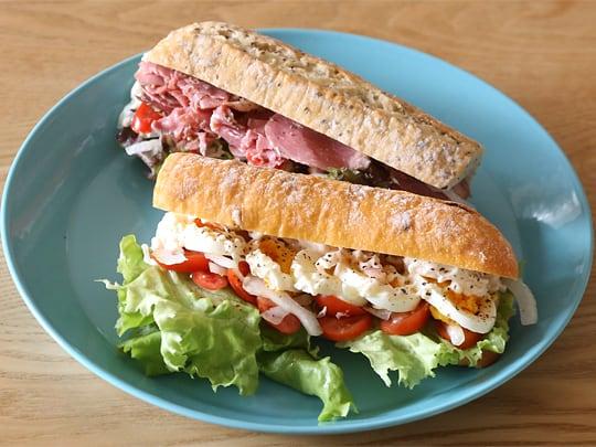 5種類のソフトバゲット 調理例(サンドイッチ)