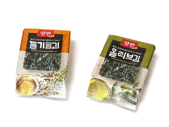 東遠ジャパン 韓国のり(えごま油入り&オリーブ油入り海苔) 小袋2種