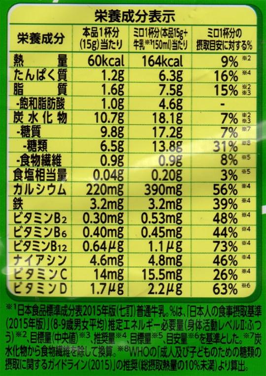 ネスレ ミロ 700g(大容量パック) 成分表示