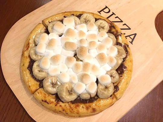 イシヤカフェ チョコバナナとマシュマロのピザ