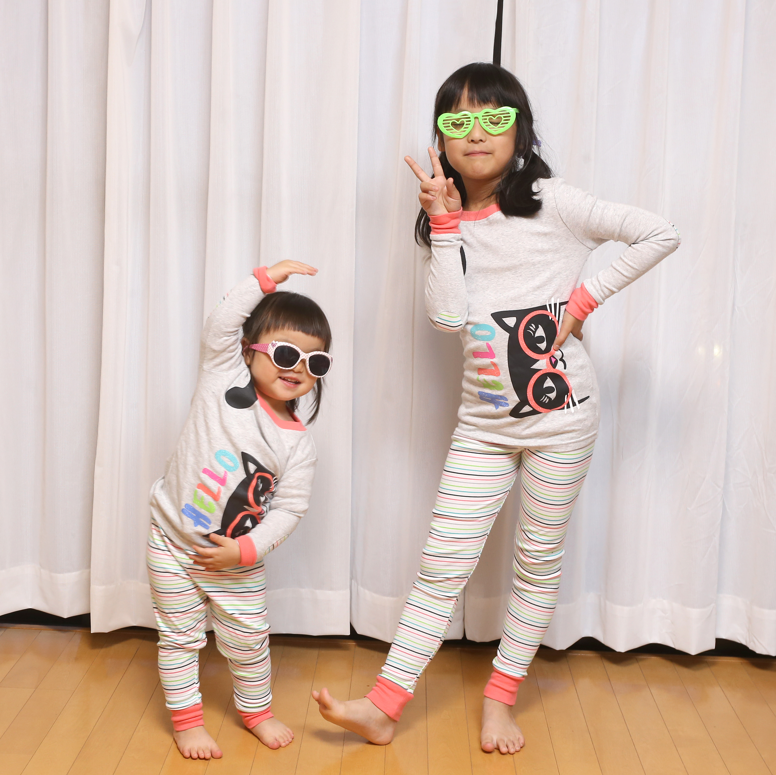 カークランドシグネチャー キッズパジャマセット4P 子どもたちに着せてみた