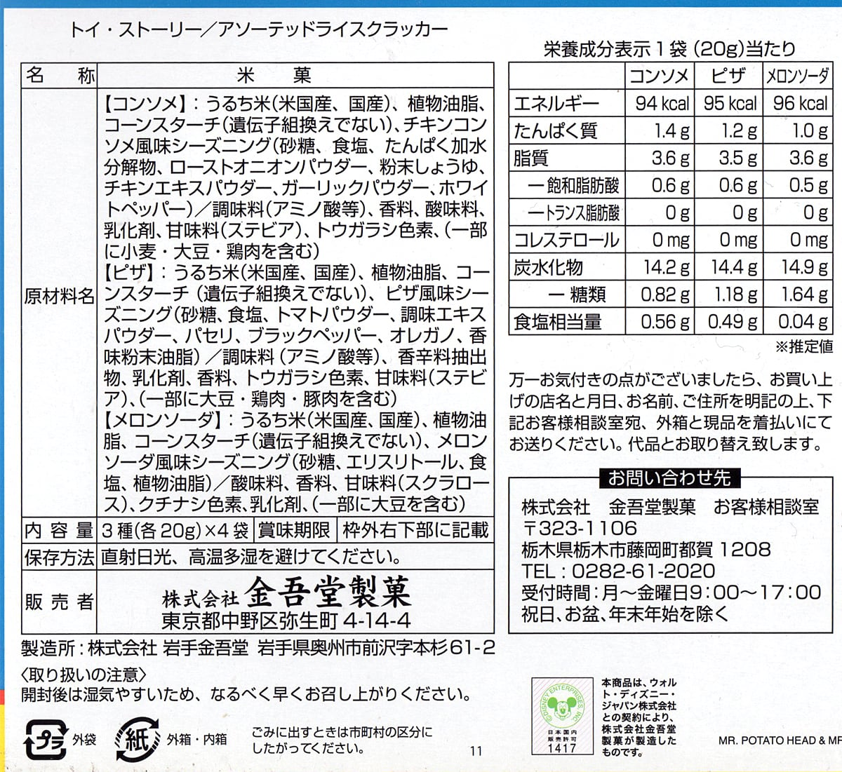 金吾堂製菓 トイストーリーおせんべいアソート 裏面ラベル(原材料・カロリーほか)