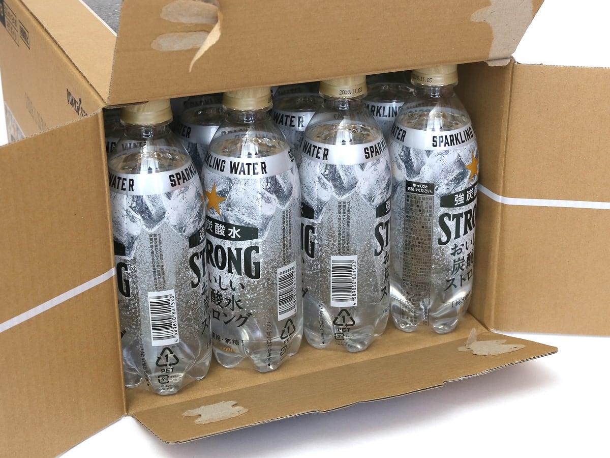 ポッカサッポロ おいしい炭酸水ストロング 500ミリリットル×24本 箱開封