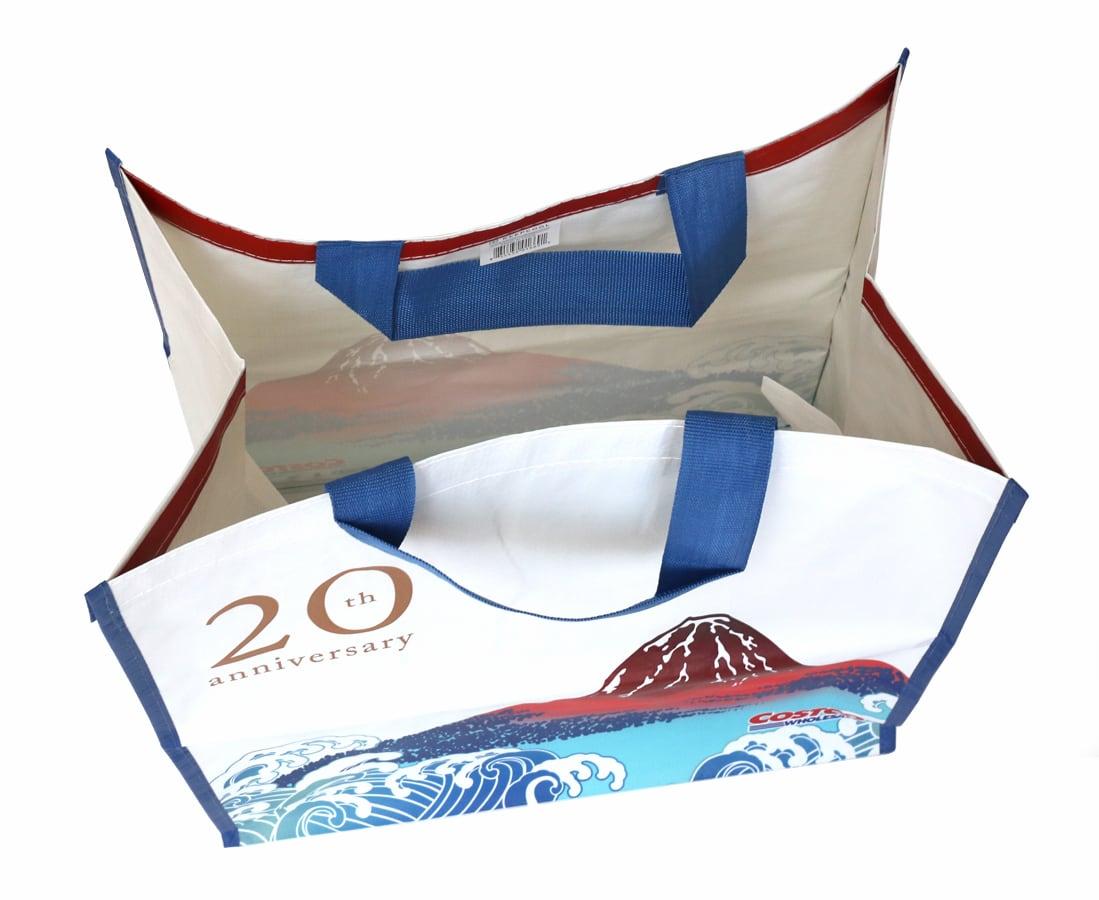 コストコ20周年記念オリジナルエコバッグ(風神雷神・富士山モデル) 上からみた様子