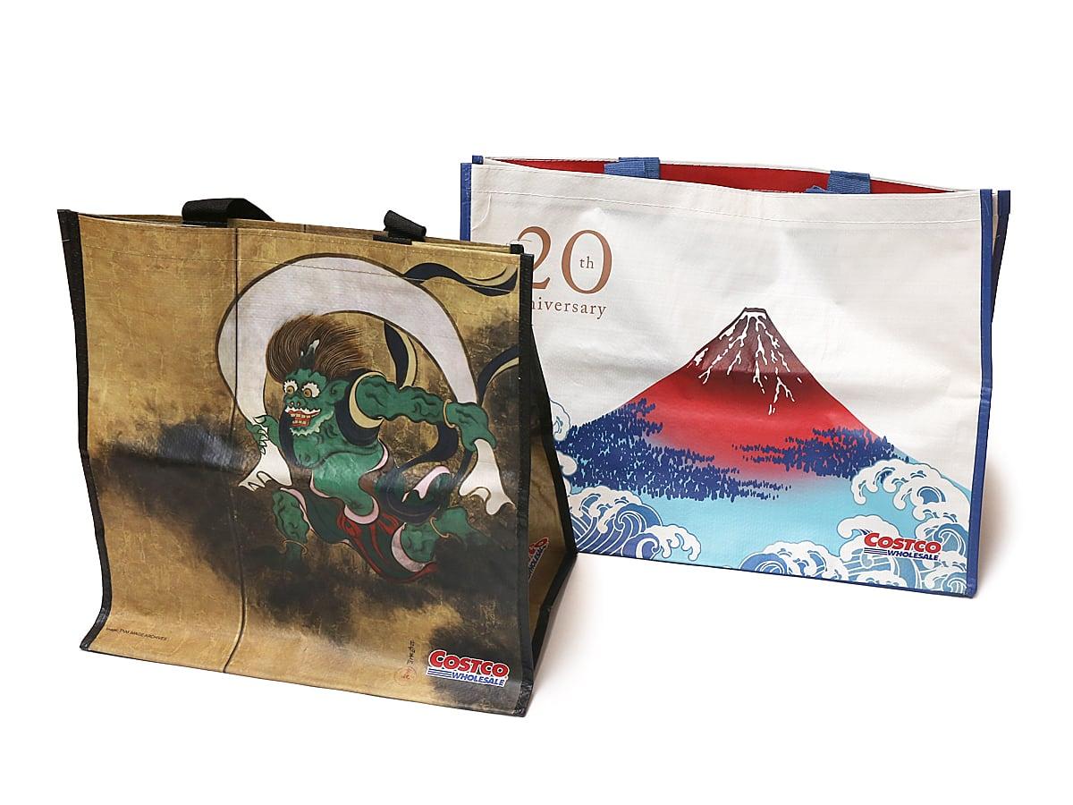 コストコ20周年記念オリジナルエコバッグ(風神雷神・富士山モデル) LサイズSサイズ比較