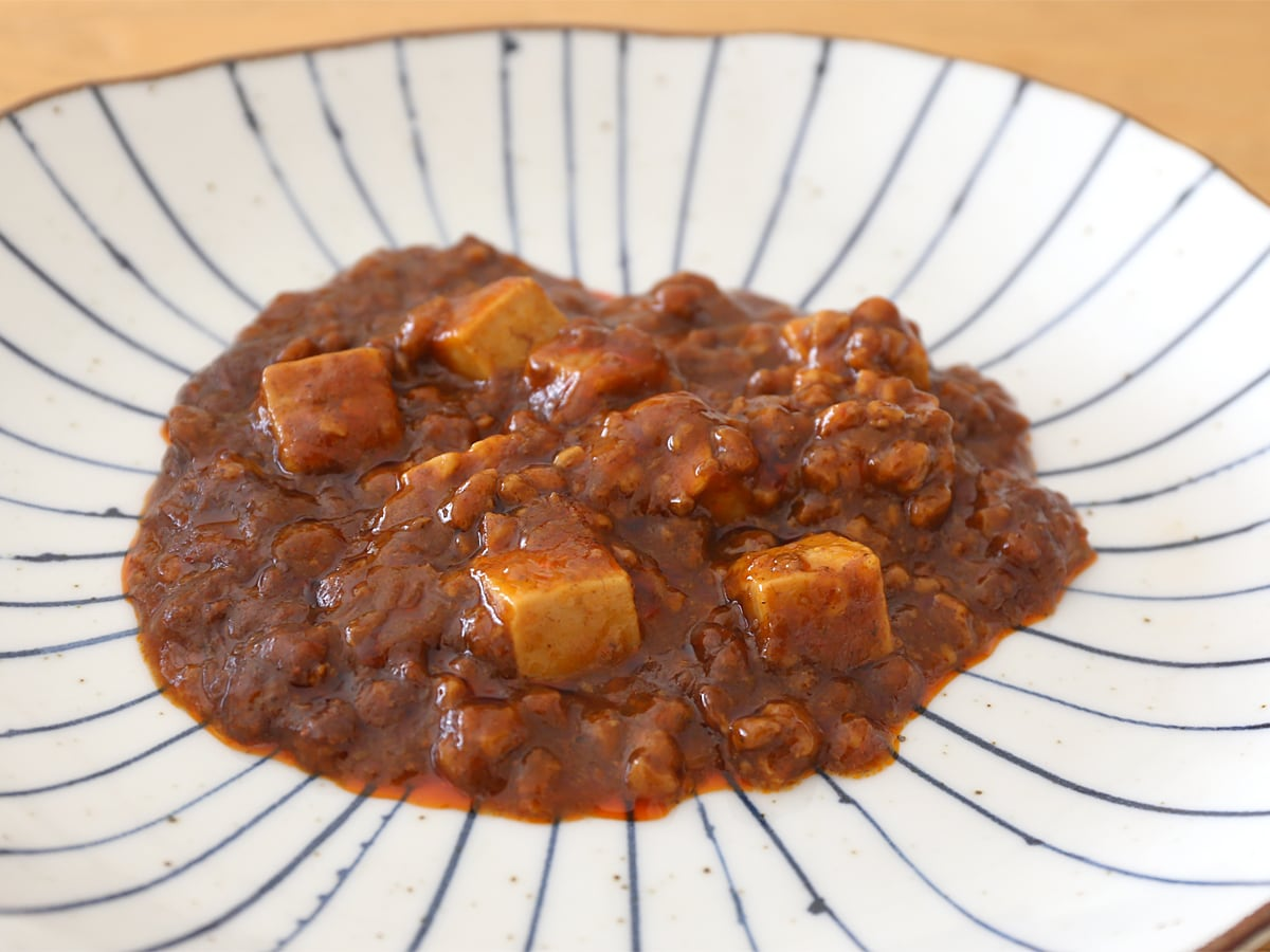 新宿中村屋 辛さ、ほとばしる麻婆豆腐 調理例(レンジ調理)