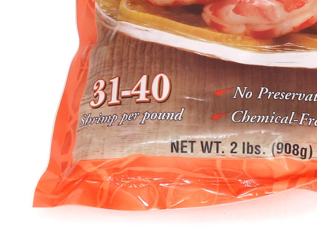 カークランドシグネチャー 冷凍エビ(尾あり調理済み)31-41ct 908g サイズ表記のアップ