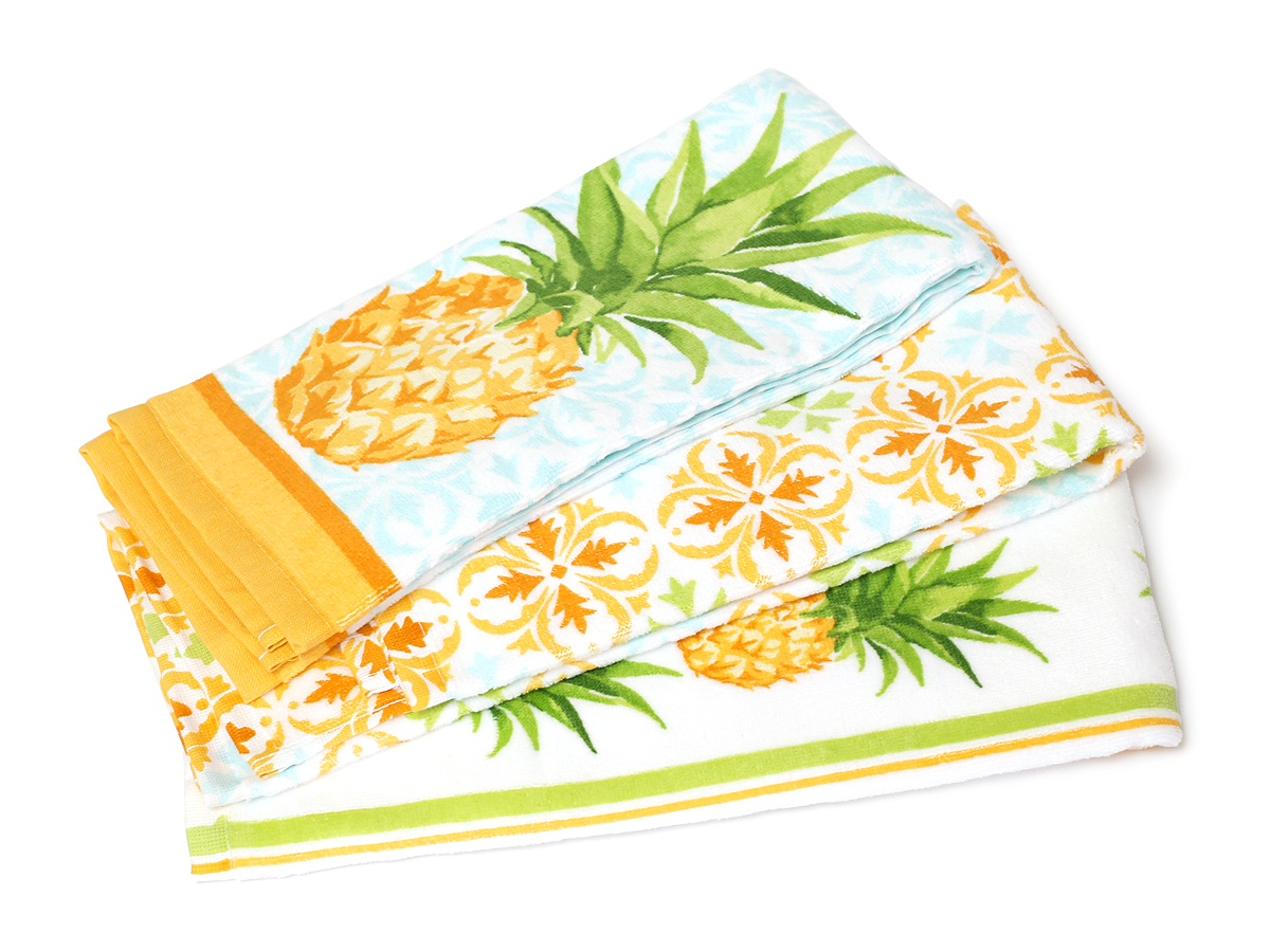 THE CHEF'S PANTRY キッチンタオル 10枚パック パイナップル柄