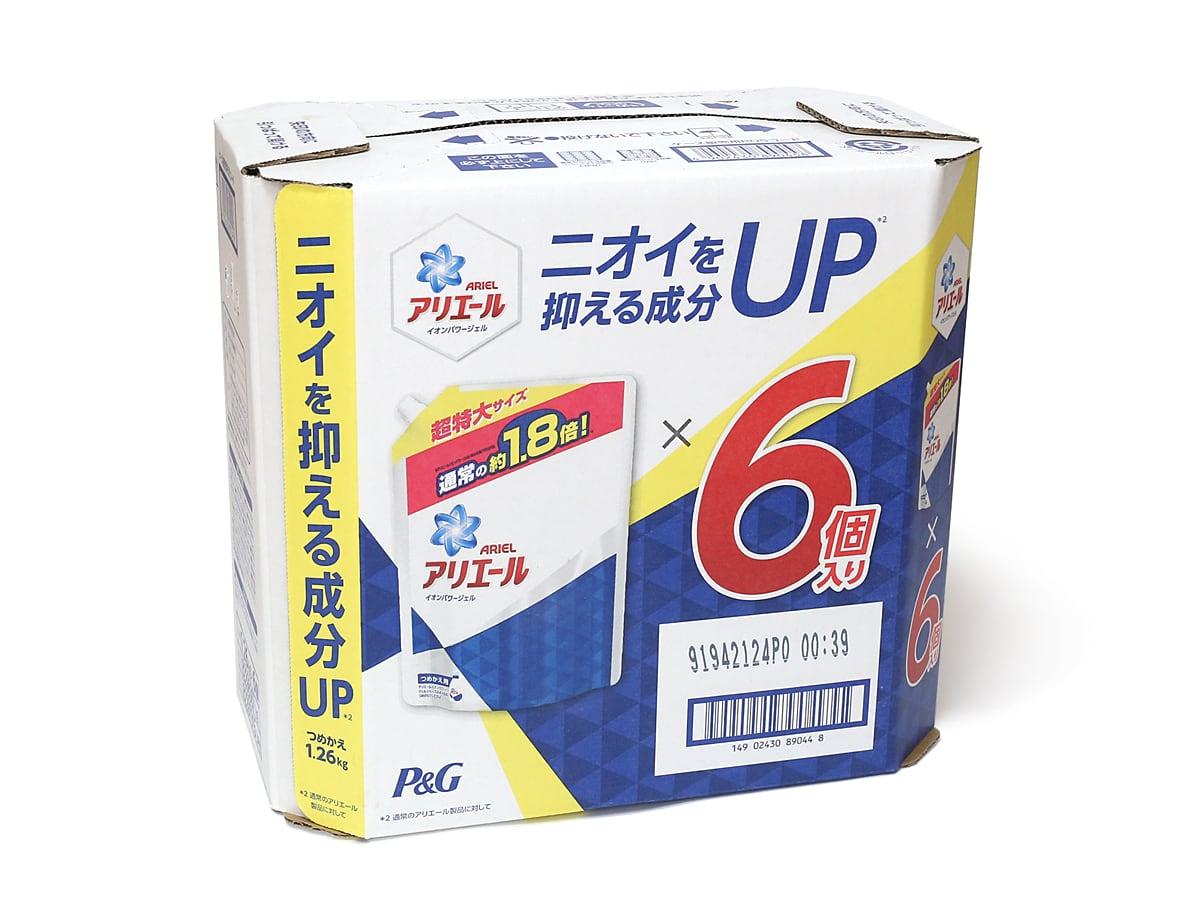 P&G コストコ限定アリエールイオンパワージェル消臭成分UP詰替え用 1.26kg×6個