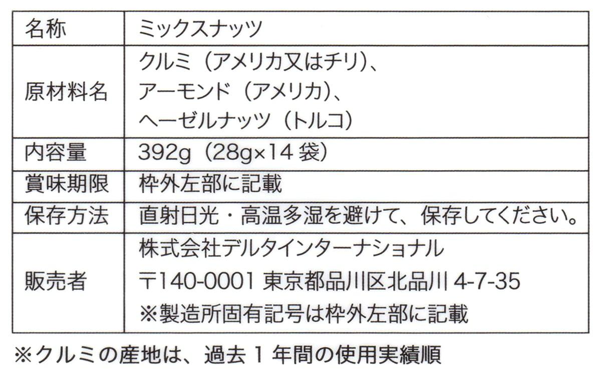 低糖質二週間分のロカボナッツ 28g×14 原材料ほか