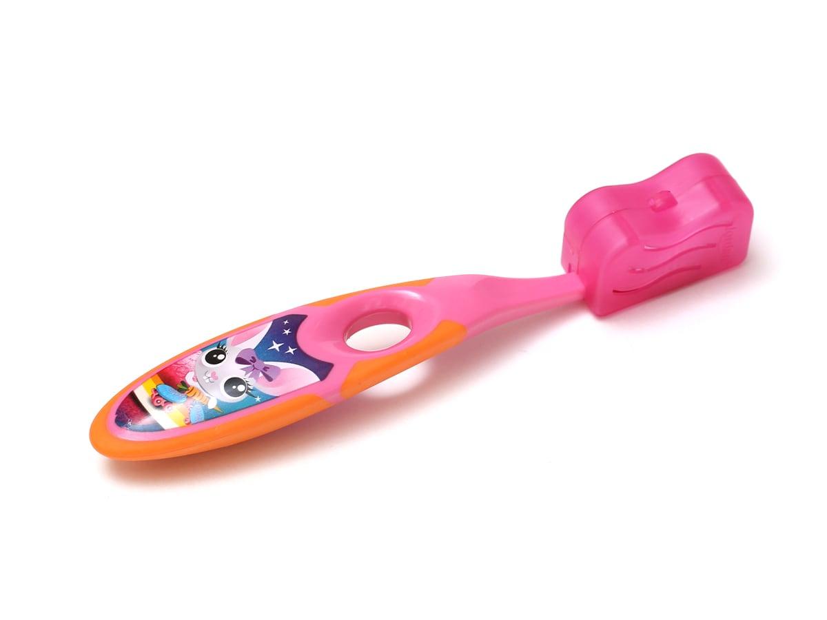 ジョーダン 子ども用歯ブラシ キャップをつけた様子