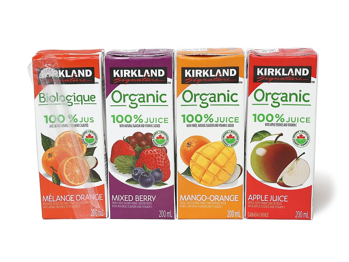 カークランドシグネチャー オーガニック100%ジュース 4種類(オレンジブレンド、ミックスベリー、マンゴーオレンジ、りんご)
