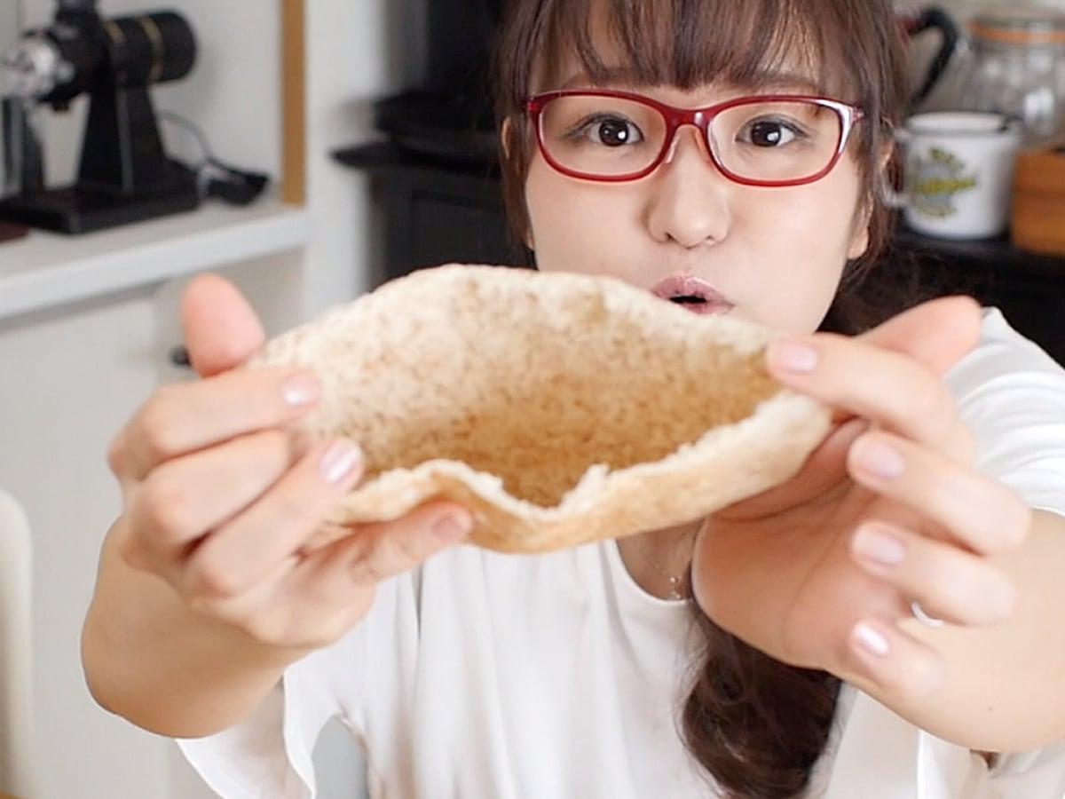 チキンケバブキット ピタパンをカットした様子