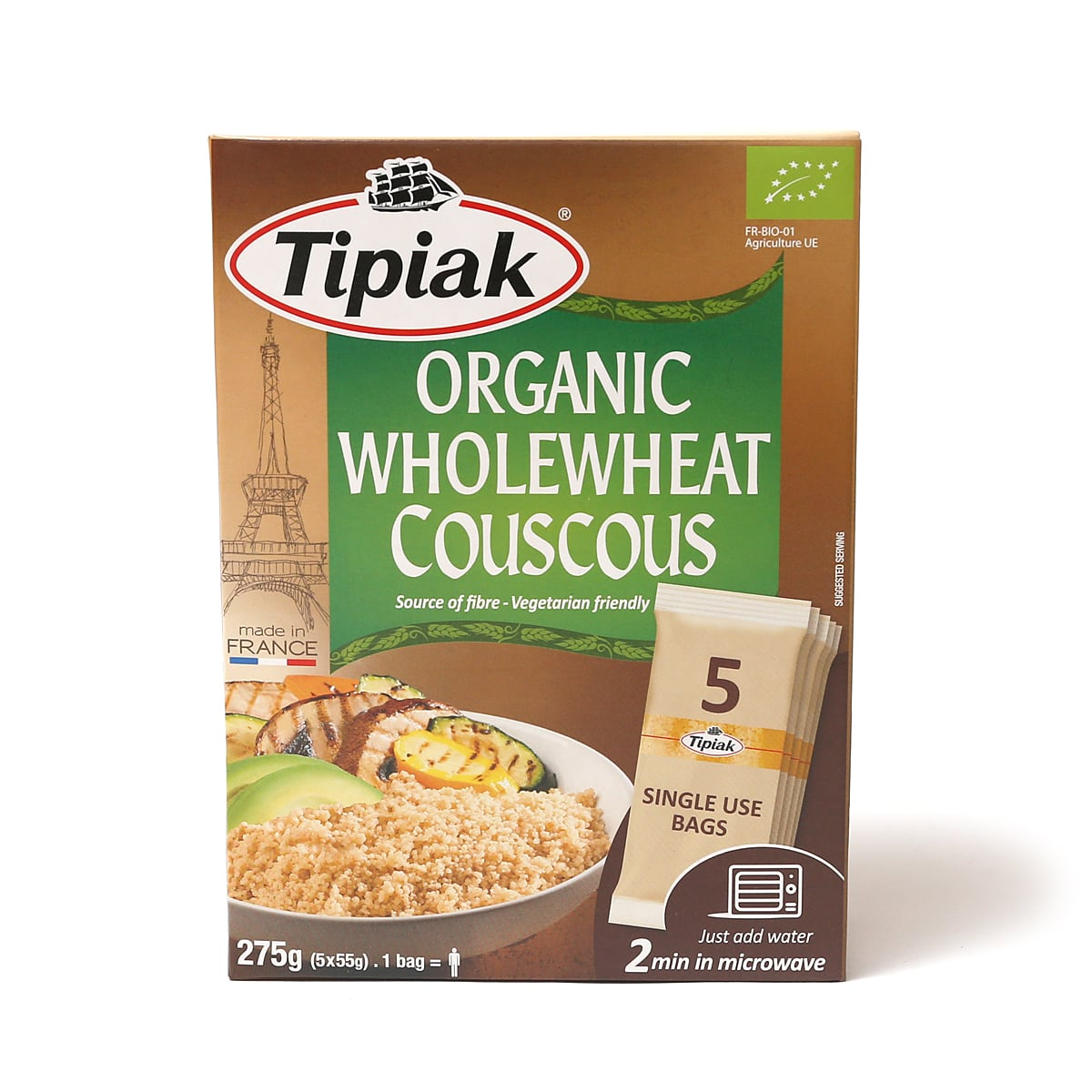 Tipiak オーガニックホールウィートクスクス 1箱