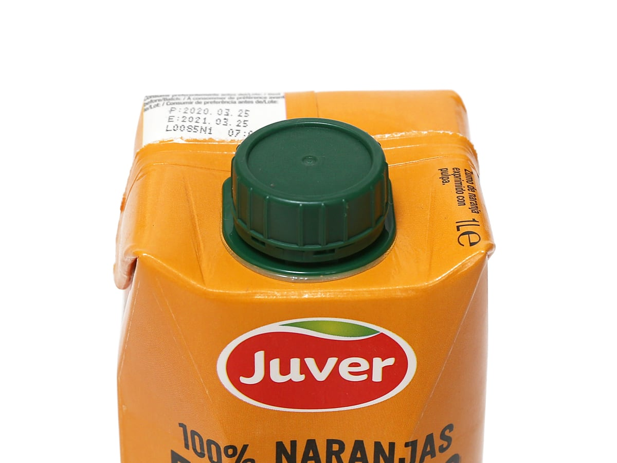 フベル 100%ストレートオレンジジュース プラスチックの蓋部分