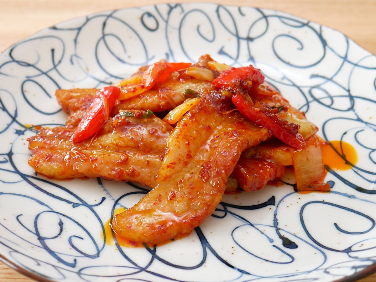 ヤンニョム豚バラ焼肉 調理例:フライパンで炒めた