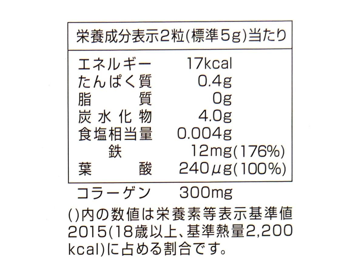 UHAグミサプリ 鉄&葉酸 220粒入 カロリー