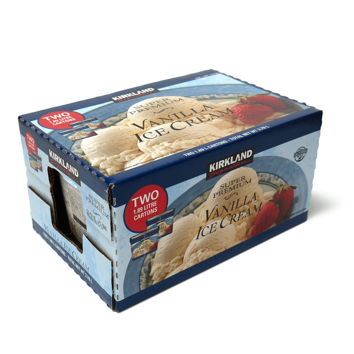 カークランドシグネチャー スーパープレミアムバニラアイスクリーム  1.89kg×2 外装パッケージ