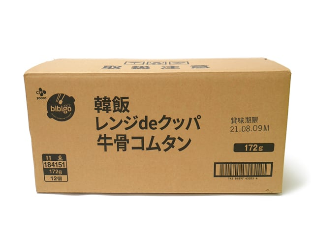 ビビゴ レンジdeクッパ牛骨コムタン 12個入 ダンボール(外箱)