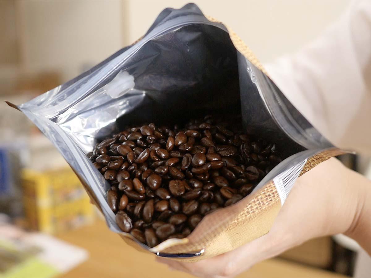 ザビダ フレーバーコーヒー ヘーゼルナッツバニラ 907g 開封中身(綺麗なコーヒー豆)