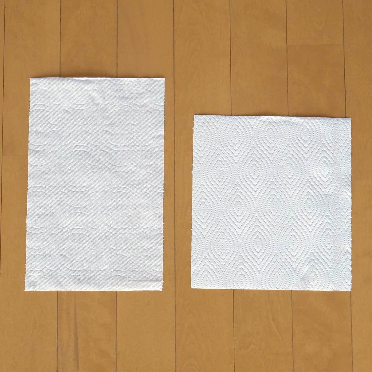 カークランドシグネチャー プレミアムタオル(コストコのキッチンペーパー) 日本のキッチンペーパーとの比較(1枚)